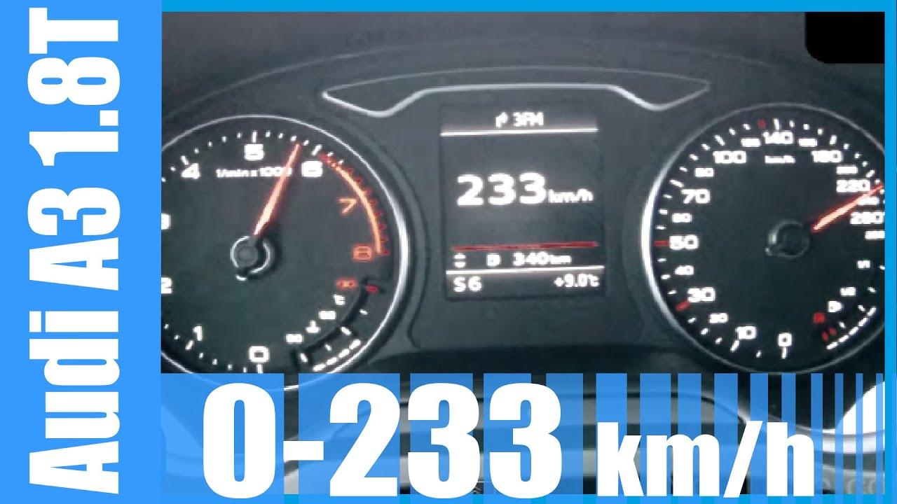 2015 Audi A3 1 8 TFSI 0-233 km/h 180 HP S-Tronic GREAT! Acceleration & Top  Speed Run