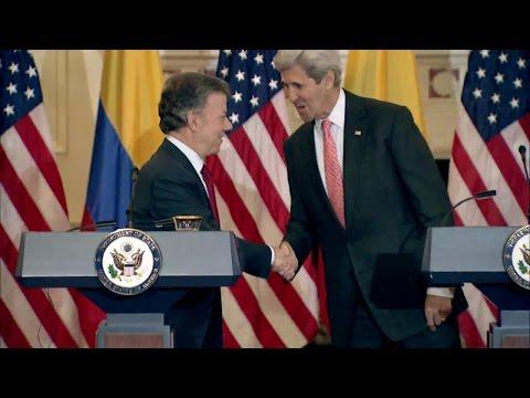 Secretary John Kerry and Colombian President Juan Manual Santos Hold Press Availability