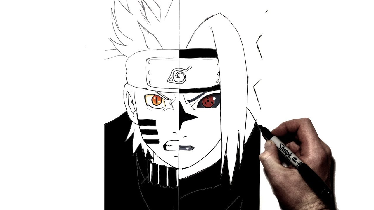 How to draw narutobijuu sasukecurse step by step naruto