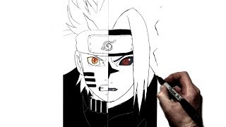 naruto sasuke drawing easy sketch draw step bijuu vs curse drawings