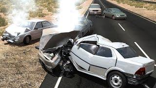 BeamNG Drive - Highway Pileups/Crashes [15] (6+ Car Pileups)