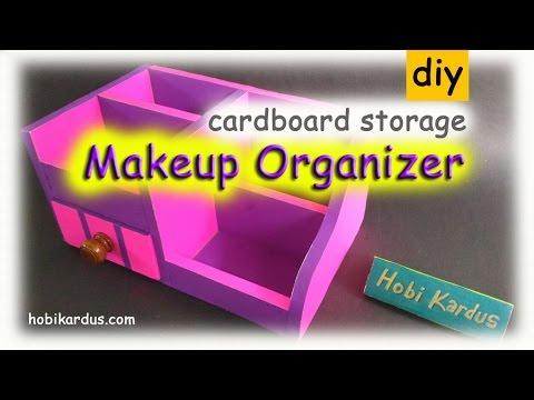 How To Make Makeup Organizer with Drawer Wood Knob | DIY Cardboard Storage