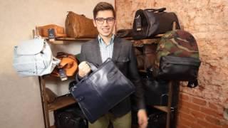 Обзор деловой сумки HADLEY из темно-синей кожи.