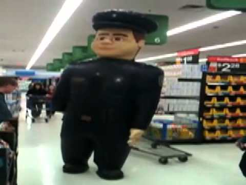 Walmart Pharmacy Security Officer friendly inflatable robot cop ...