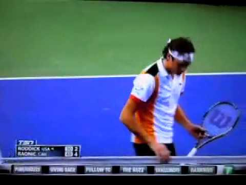 HILARIOUS Raonic kisses tennis net Roddick attacks