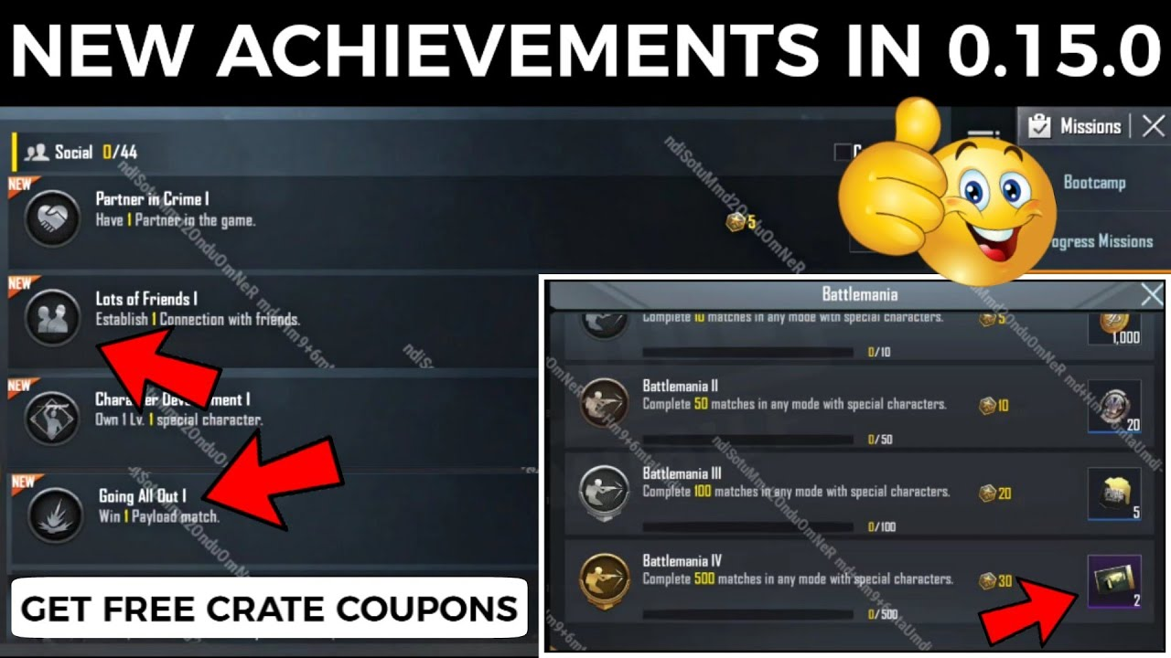 NEW ACHIEVEMENTS IN 0.15.0 UPDATE PUBG MOBILE | GET FREE CRATE COUPONS IN PUBG MOBILE