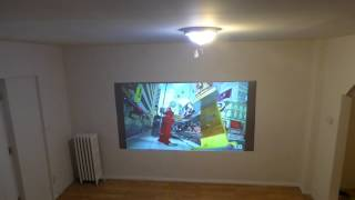 OUR IMMERSE AMAZING PROJECTION SCREEN ONLY 2500 LUMENS WITH LIGHTS ON!