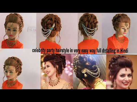 Sagan ,engagement ,& party wear hairstyle/Celebrity party wear hairstyle/ party hairstyle/High updo