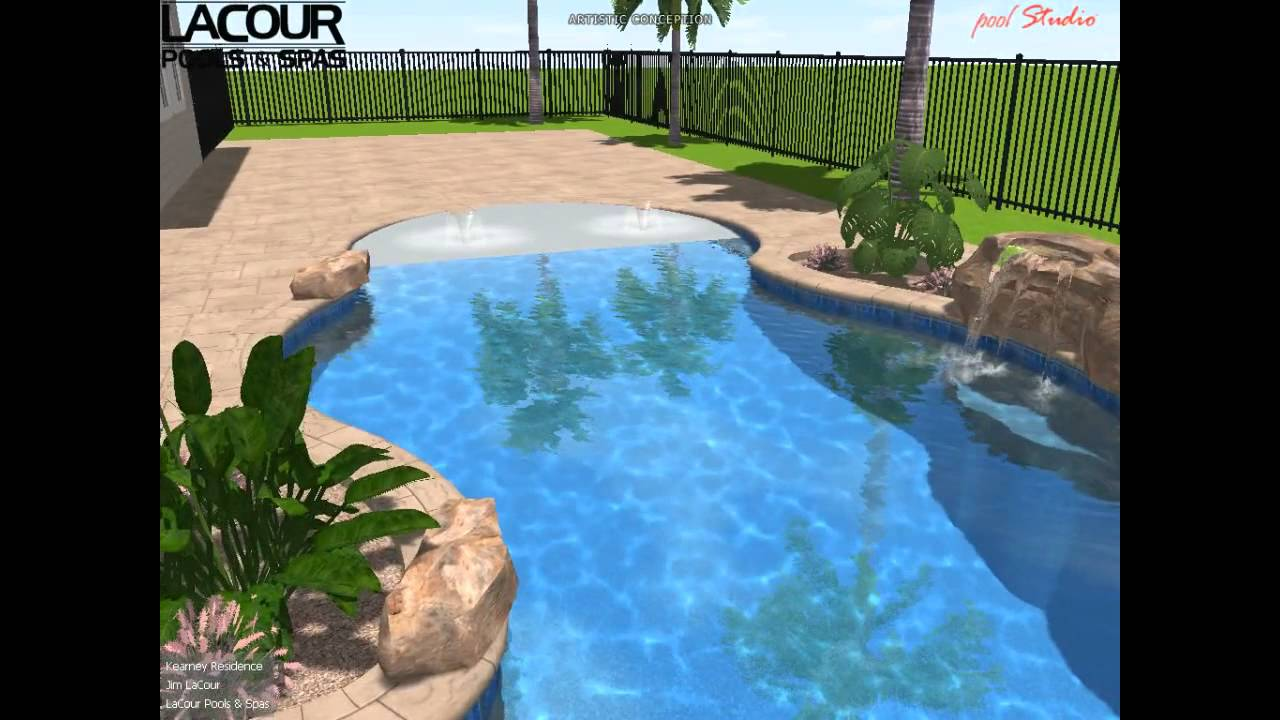 Free Form Beach Entry Rock Feature Spa Youtube
