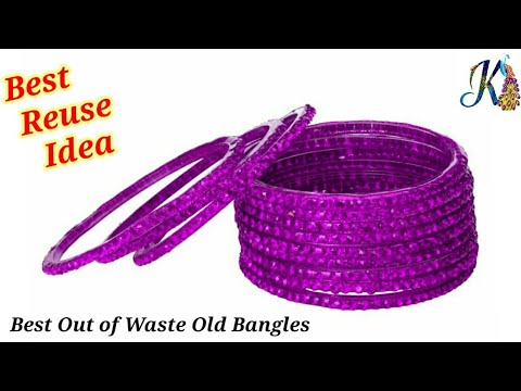How to reuse old bangles at home | best reuse idea | best out of waste | old bangles craft ideas