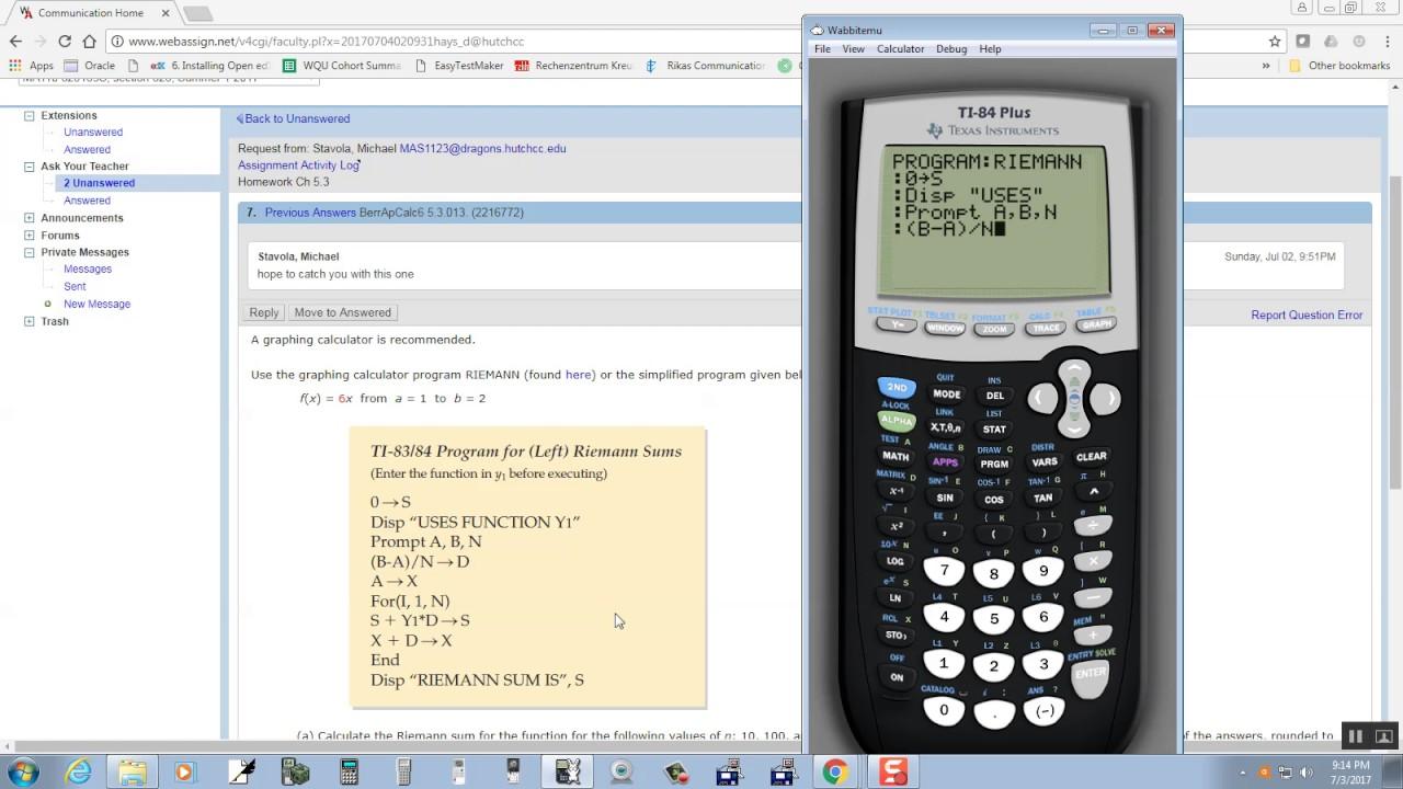 Calc Riemann Sums Program Youtube