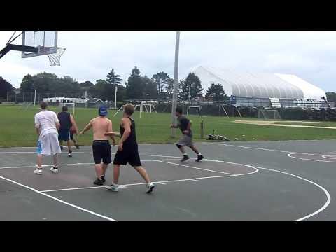 Adam Sandler and Peter Dante Playing Basketball in Swampscott