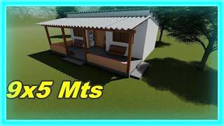 Plano de Casa de Sítio com Varanda Casa de Campo Simples