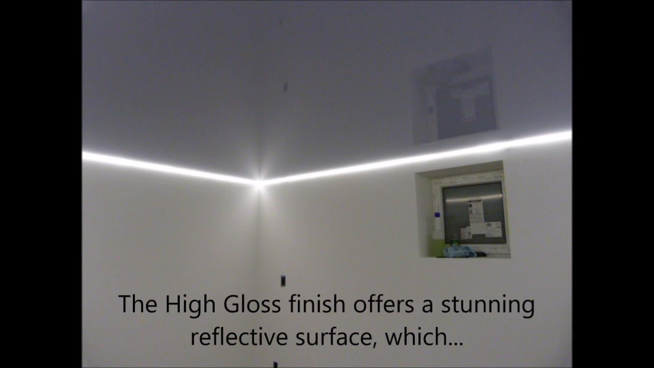 High gloss stretch ceiling with dimmable led strip lighting youtube high gloss stretch ceiling with dimmable led strip lighting aloadofball Choice Image