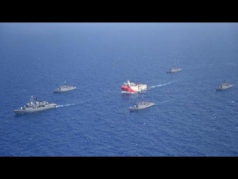 Mediterranean, Greek Navy Ship Shoot Turkish Ship