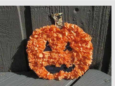 Tissue Paper Pumpkin Halloween Craft