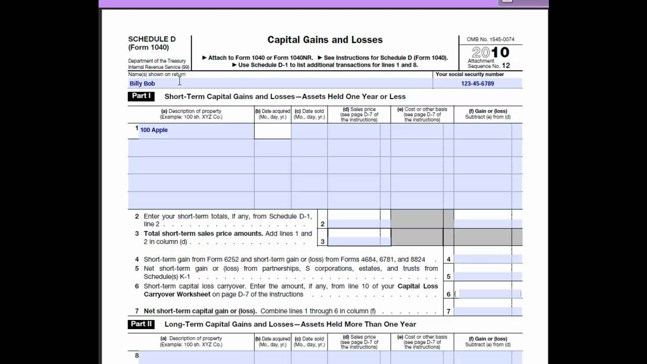 Sch D Loss Form 1040 Tax Return Preparation Youtube