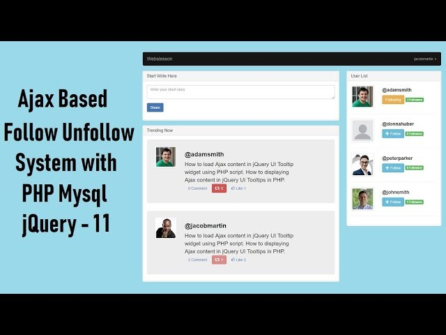 Ajax Based Follow Unfollow System with PHP Mysql jquery - 11