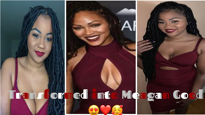 transformed into meagan good im shook soft faux locs  natural makeup with red lip