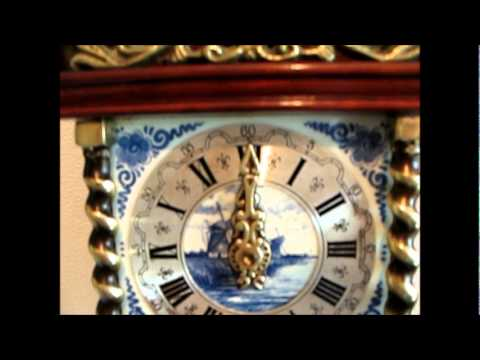 Delft Blue Tile Dutch Zaanse 8 Day Wall Clock For Sale On