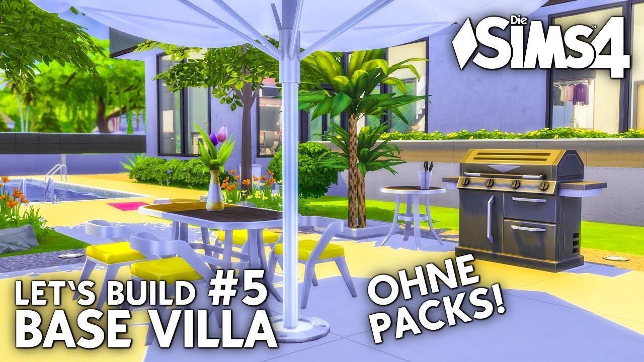 Die Sims 4 Haus bauen ohne Packs | Base Villa #5: Garten & Pool ...