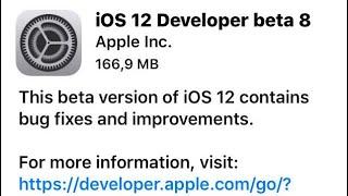 iOS 12 beta 8/correção do 7...