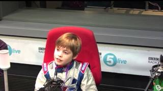Formula 1 champion Lewis Hamilton surprises nine-year-old racer Harley Haughton
