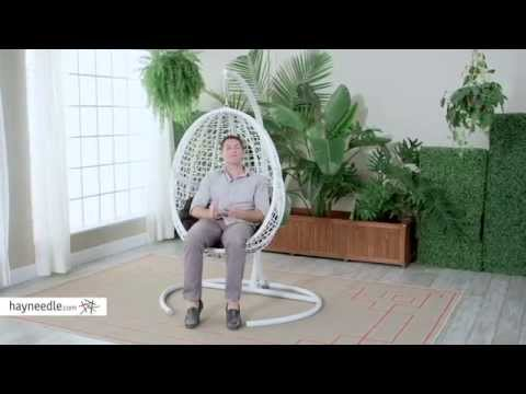 Island Bay Resin Wicker Blanca Hanging Egg Chair with Cushion Color Option - Product Review Video