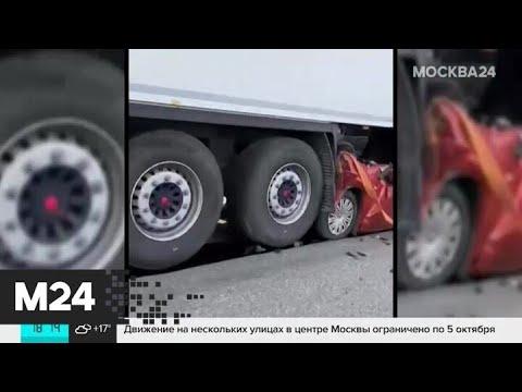 В подмосковных Бронницах столкнулись два фуры и легковой автомобиль - Москва 24