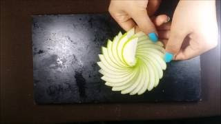 Art In Apple Carving Flower - Making A Rosette With Apple