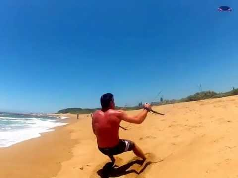 Dragged along the beach by a Flexifoil power kite