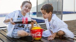 PAULINHO CIENTISTA e o Melão com Coca Cola e Mentos - Experiencia para Crianças