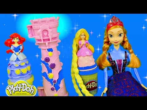 Thumbnail: NEW Play Doh Rapunzel's Garden Tower FROZEN Princess Barbie Anna Mix N Match Sparkle Playdough
