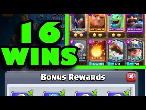 Season 9 Global Tournament Ends With 16 Wins   Giant Night Witch Hunter Miner Deck   (Clash Royale)  
