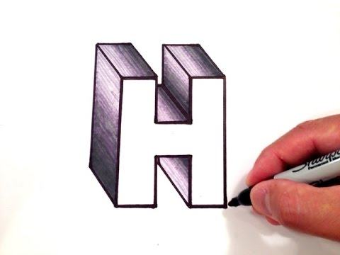 how to draw letters in 3d how to draw the letter h in 3d 24778