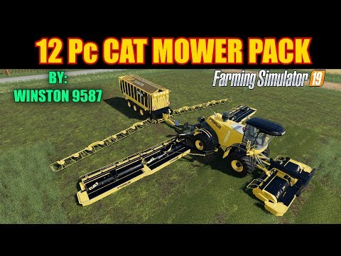 12 Pc Cat Mower Pack Mod Review Farming Simulator 19