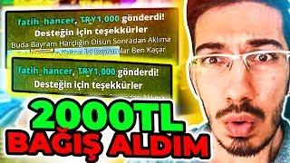 CANLI YAYINDA 2000TL BAĞIŞ ALDIM !! ( Fortnite Battle Royale Türkçe )