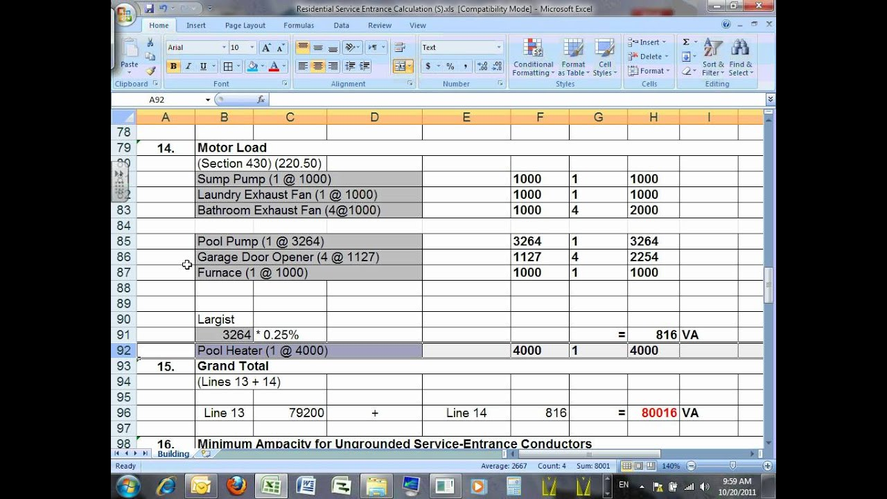 Printables Residential Electrical Load Calculation Worksheet load calculation residentialu10 10 20 11 wmv youtube wmv