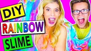 DIY MEGA GIANT RAINBOW SLIME!! (200LBS!!)