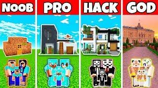Minecraft: FAMILY MODERN MANSION HOUSE BUILD CHALLENGE - NOOB vs PRO vs HACKER vs GOD in Minecraft