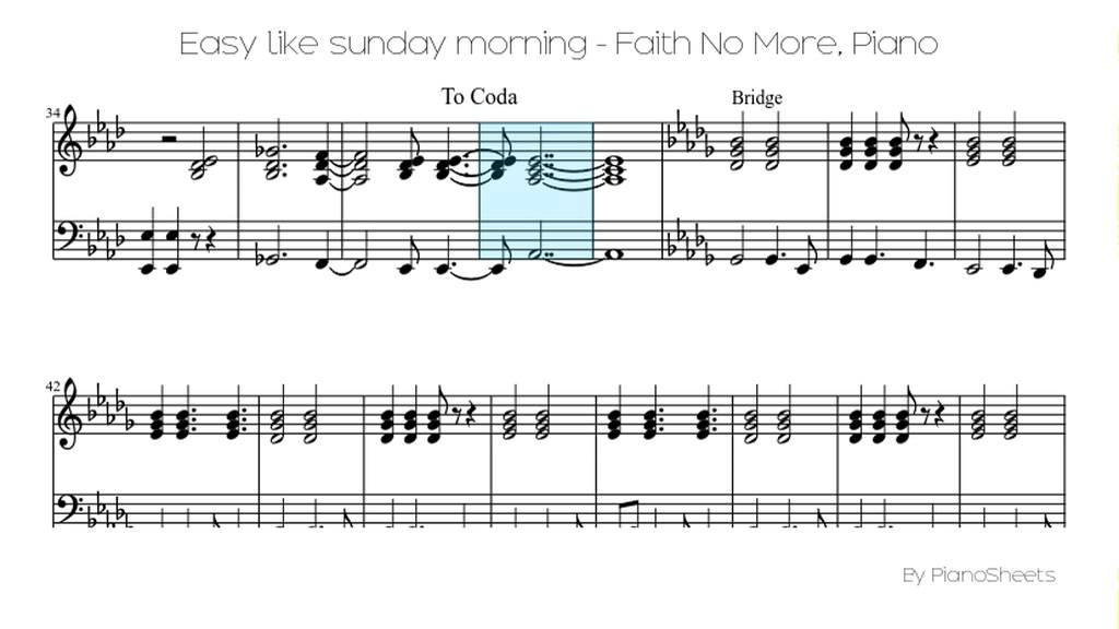 Easy like sunday morning - Faith No More [Piano Solo] - YouTube