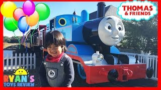 THOMAS AND FRIENDS Train Rides for kids Thomas Land Edaville USA amusement park Ryan ToysReview