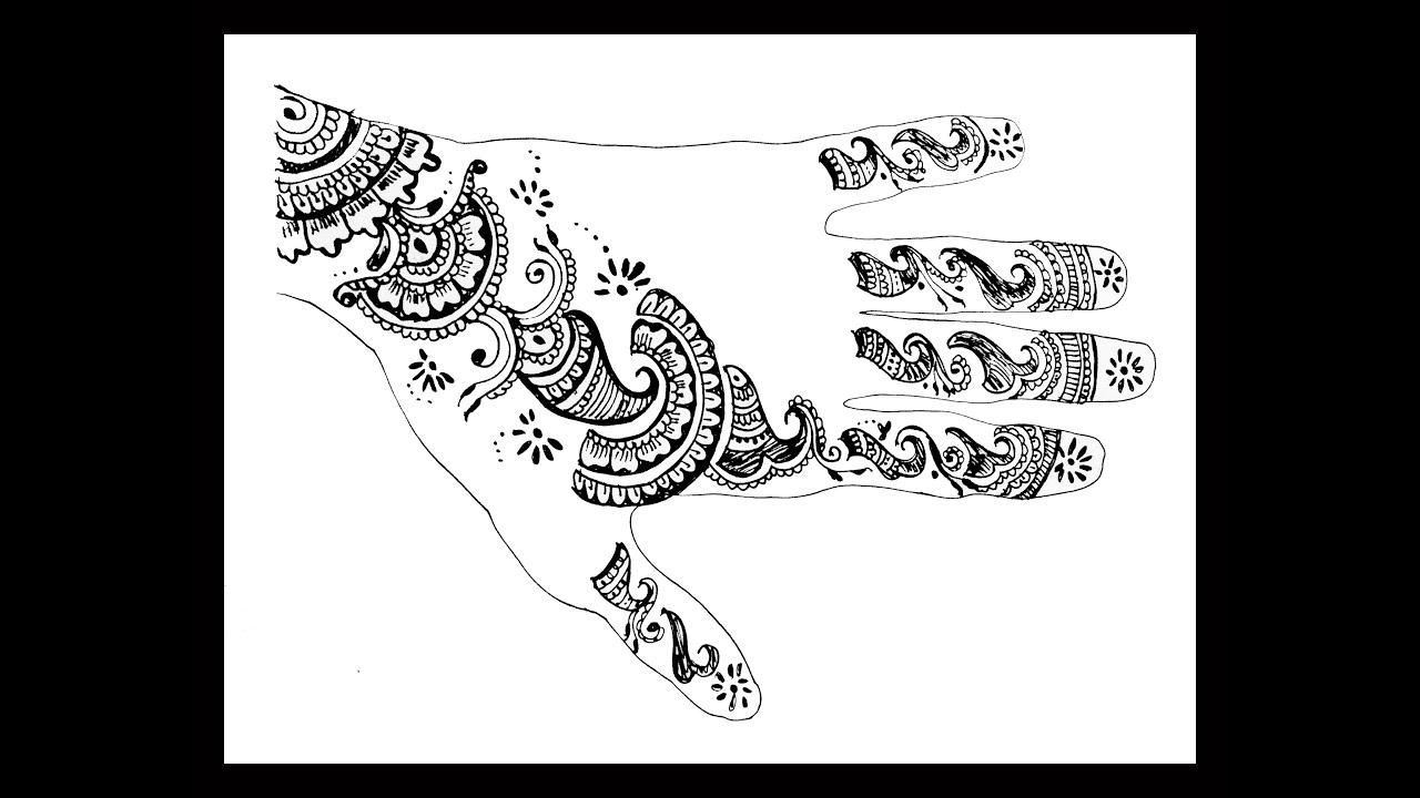 Coloring pages of mehndi hand pattern - Mehendi Mehndi Mehandi Henna Tattoo Design For Hand Full Hand Arabic Diwali Eid Special Part 3 Youtube