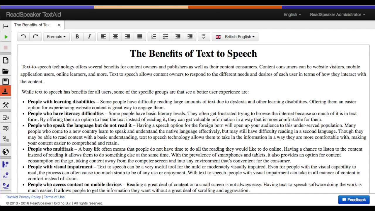 TextAid Feature: Download audio - ReadSpeaker