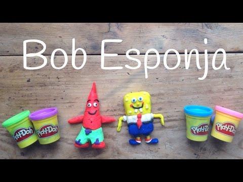 Figuras con Play Doh sin moldes: Bob esponja de plastilina Play Doh