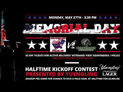 Roughriders Host Memorial Day Game 5/27 @ The WesBanco Arena