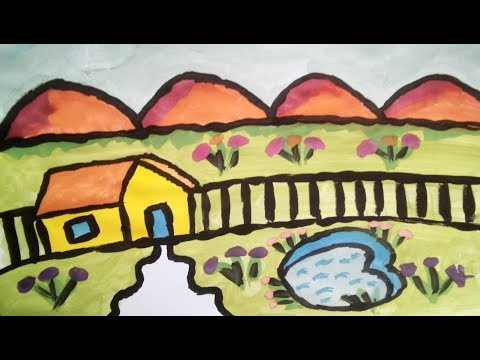 little-pound-with-tiny-mountains-along-hut-fence-natural-scenery-drawing/painting-#-11-for-childeren