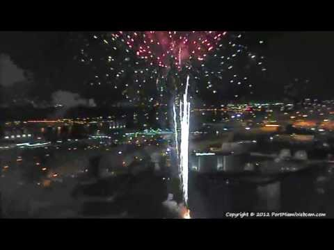 Port of Miami Webcam - 4th of July Fireworks 2012