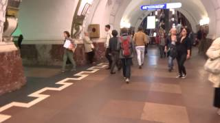 walk inside a st petersburg russia metro station