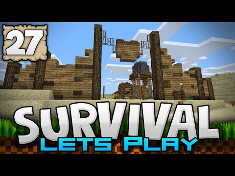 TOWN WALL & WATER TOWER!!! - Survival Let's Play Ep. 27 - Minecraft 1.2 (PE W10 XB1)